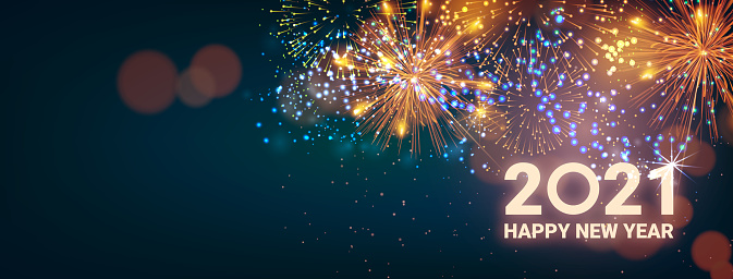Greeting card Happy New Year 2021. Beautiful Square holiday web banner or billboard with text Happy New Year 2021 on the background of fireworks. - Vector illustration